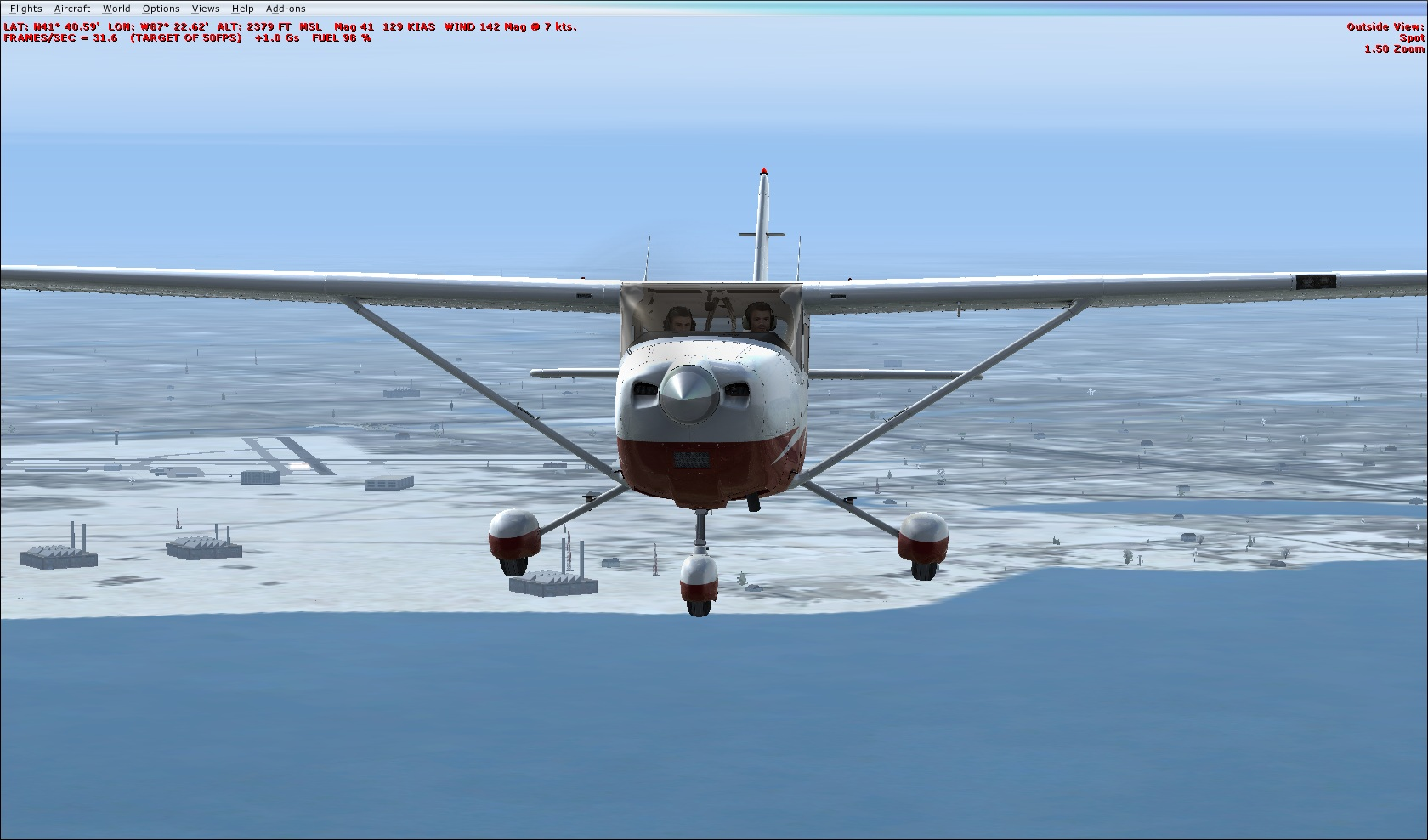 Airborn for first VFR flight of Great lakes tour